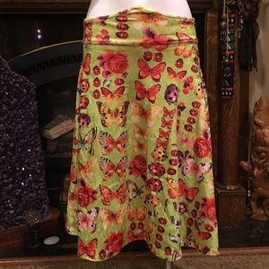Dresses & Skirts - Vintage/retro lime green velvet butterfly skirt